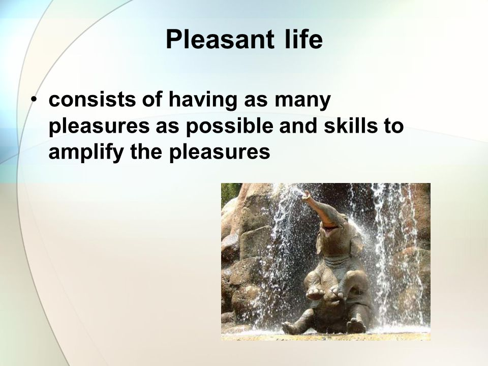 Pleasant life consists of having as many pleasures as possible and skills to amplify the pleasures