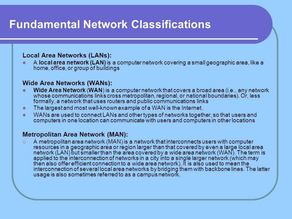 Fundamental Network Classifications