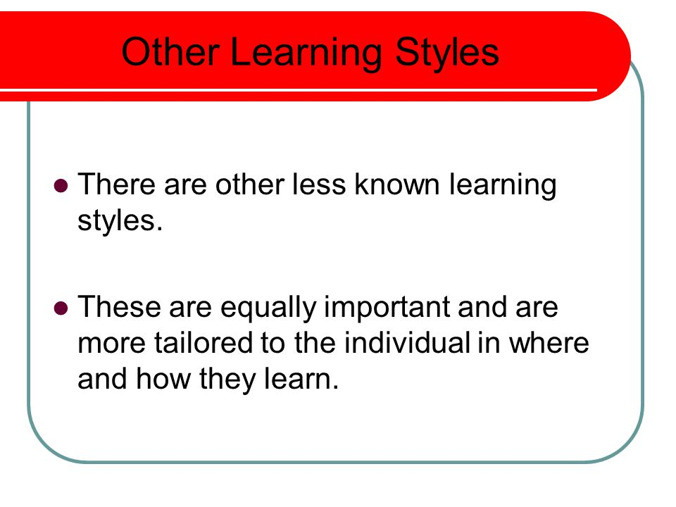 Other Learning Styles There are other less known learning styles.