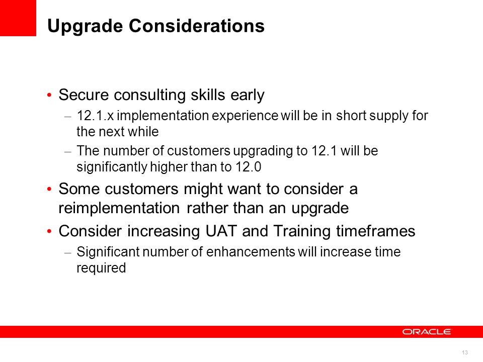 Upgrade Considerations