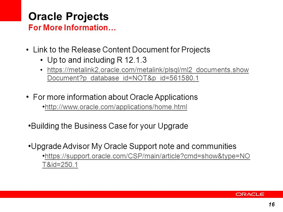 Oracle Projects For More Information…