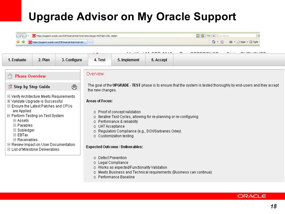 Upgrade Advisor on My Oracle Support