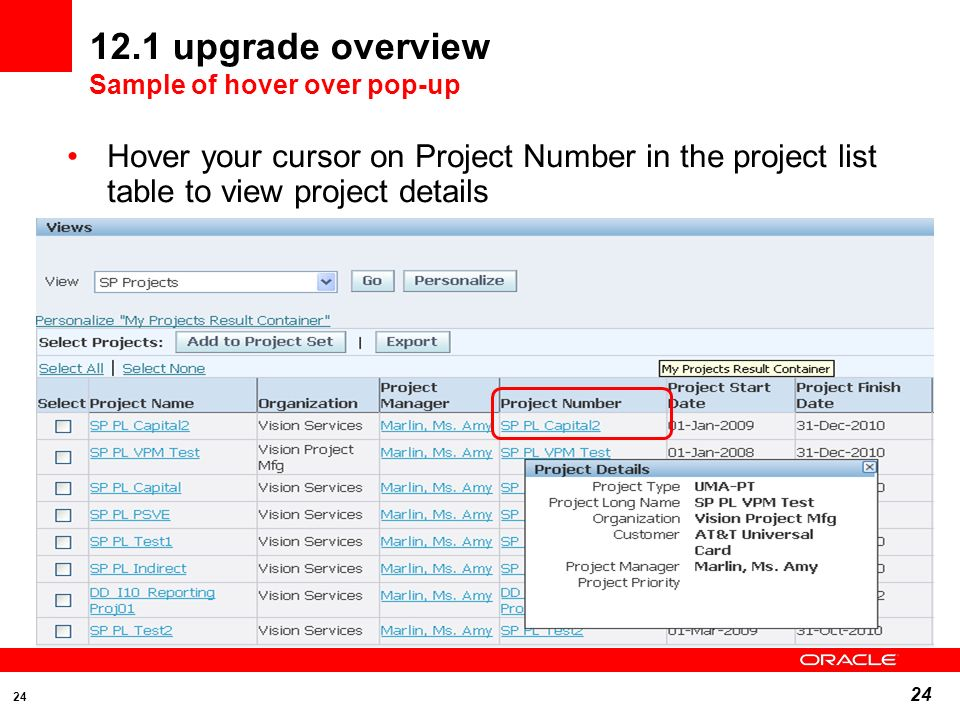 12.1 upgrade overview Sample of hover over pop-up