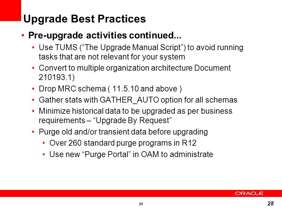 Upgrade Best Practices