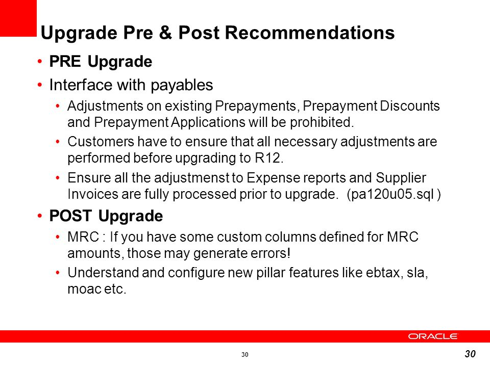 Upgrade Pre & Post Recommendations