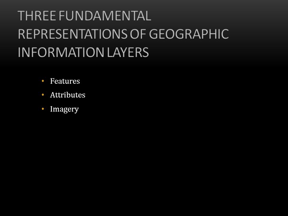 Three fundamental representations of geographic information layers