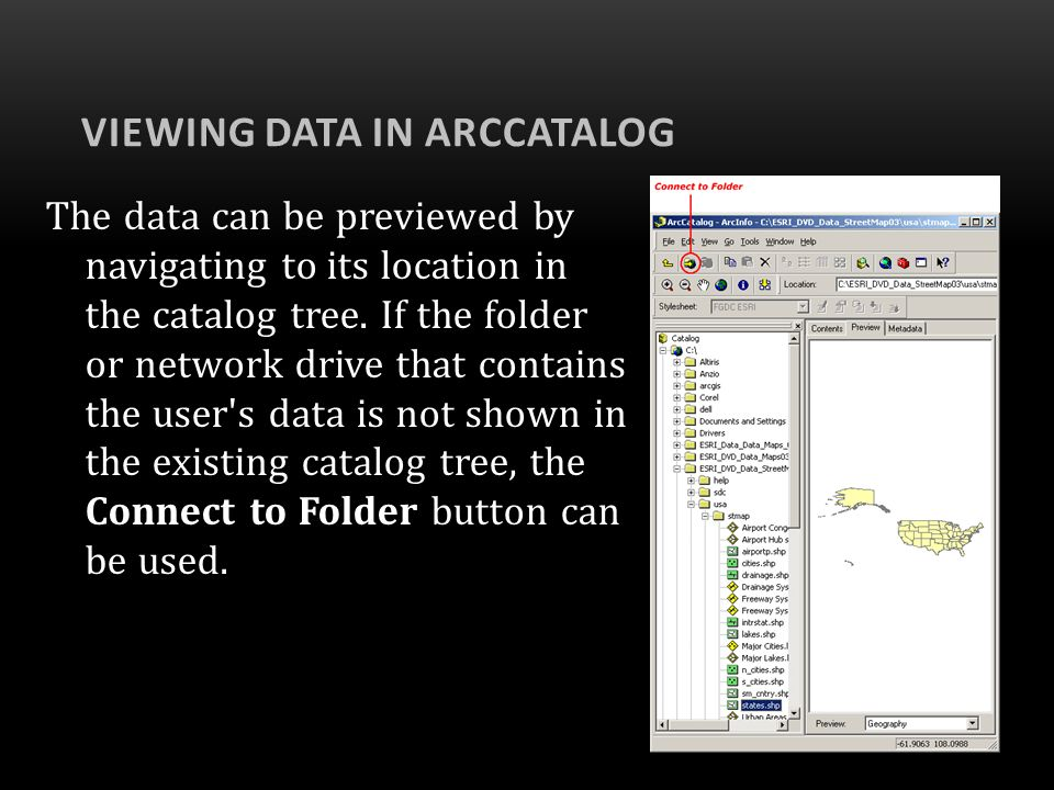 Viewing Data in ArcCatalog