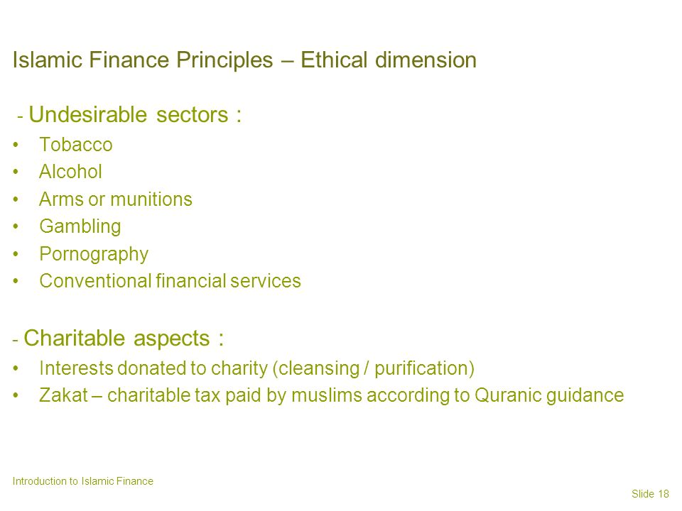 Islamic Finance Principles – Ethical dimension