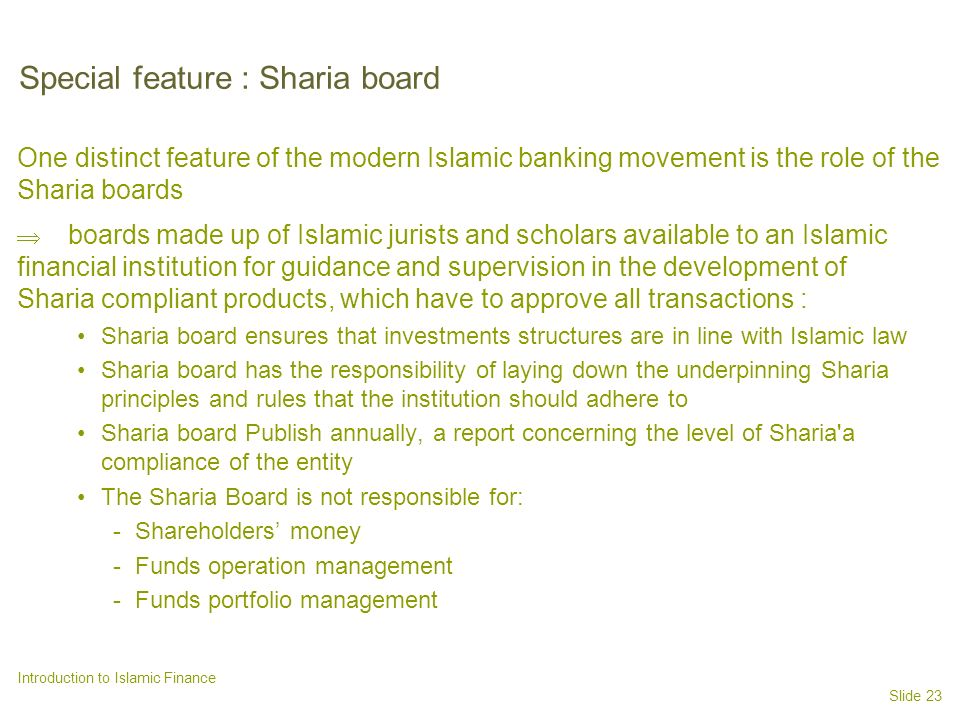 Special feature : Sharia board