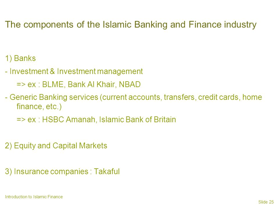 The components of the Islamic Banking and Finance industry