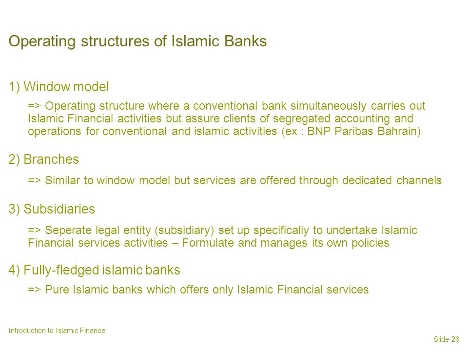 Operating structures of Islamic Banks