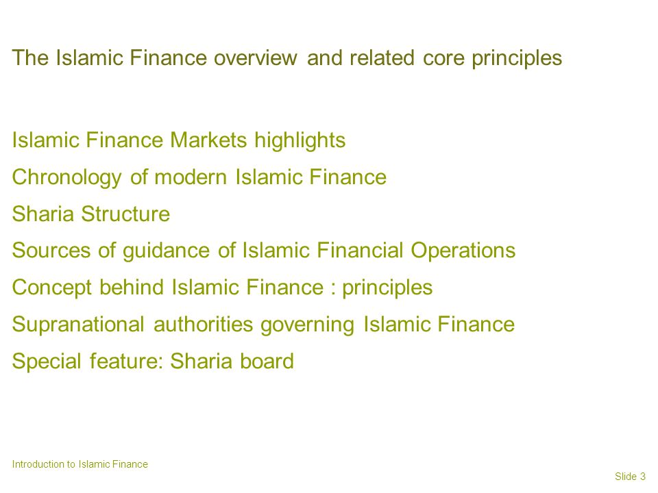 The Islamic Finance overview and related core principles
