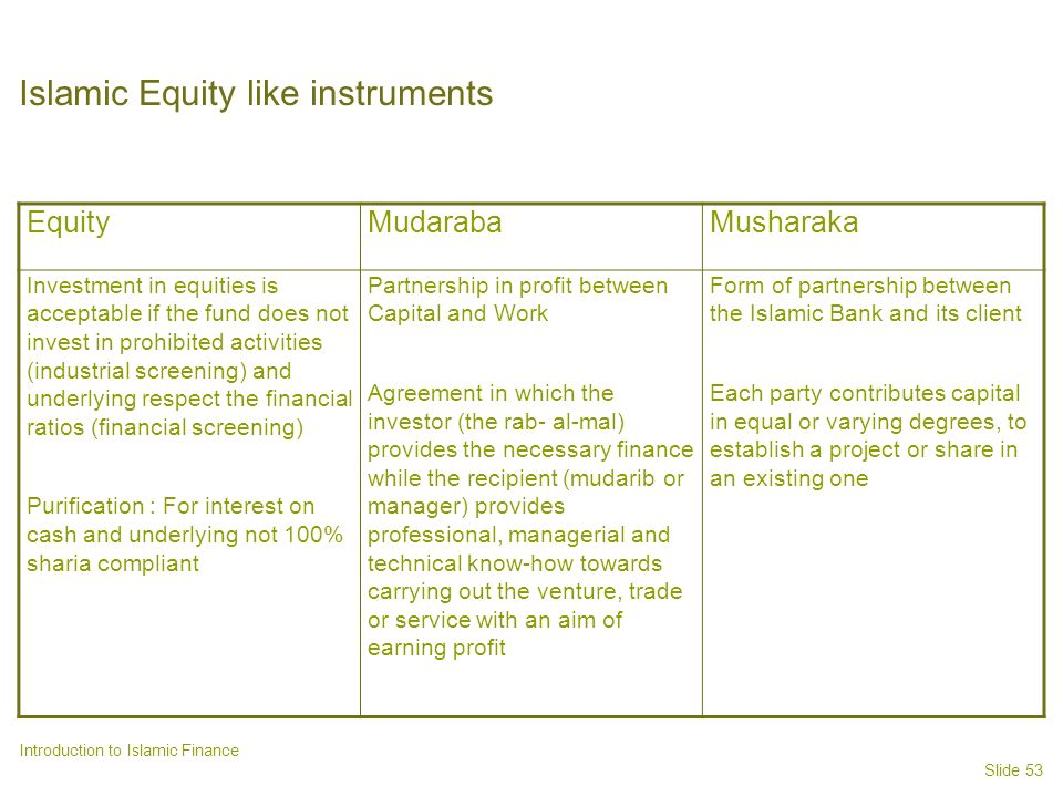 Islamic Equity like instruments