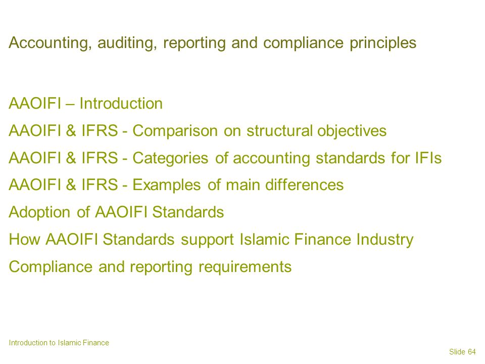 Accounting, auditing, reporting and compliance principles