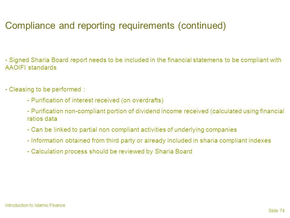 Compliance and reporting requirements (continued)