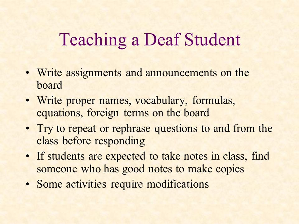 Teaching a Deaf Student