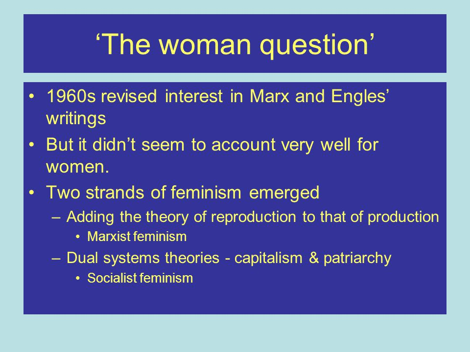 'The woman question' 1960s revised interest in Marx and Engles' writings. But it didn't seem to account very well for women.