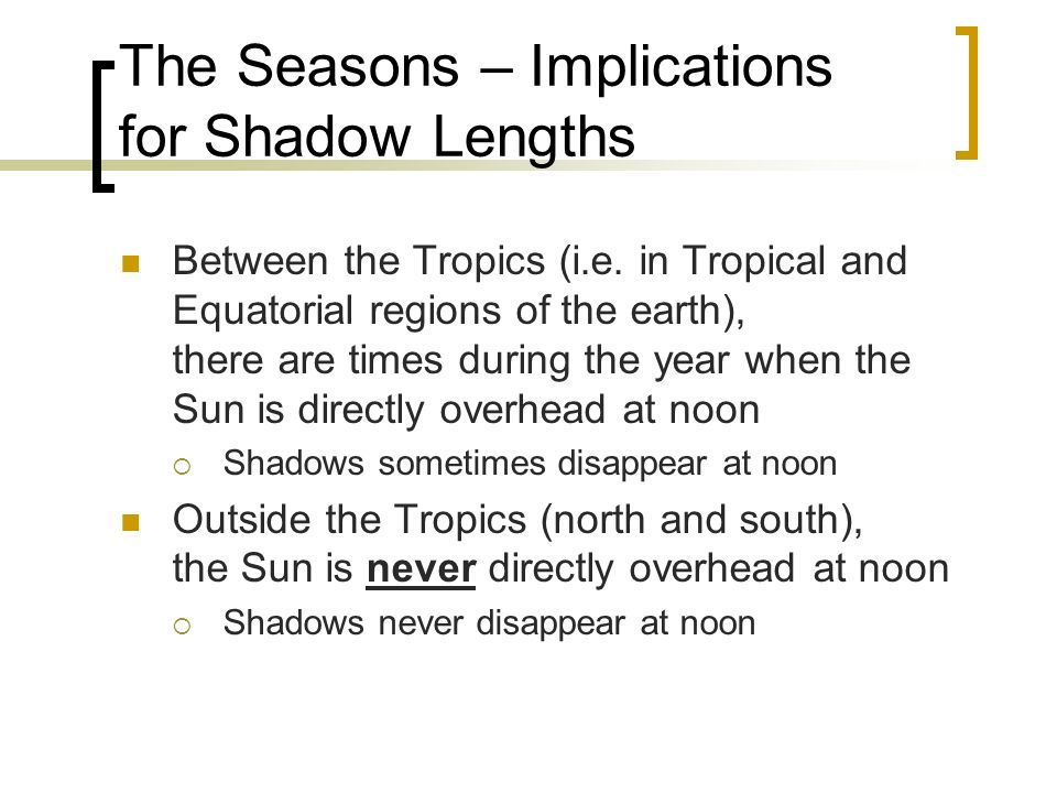 The Seasons – Implications for Shadow Lengths