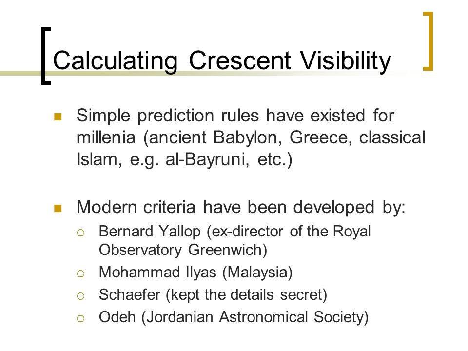 Calculating Crescent Visibility