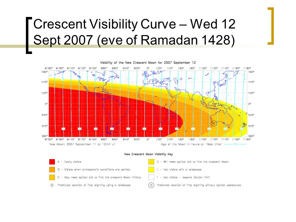 Crescent Visibility Curve – Wed 12 Sept 2007 (eve of Ramadan 1428)