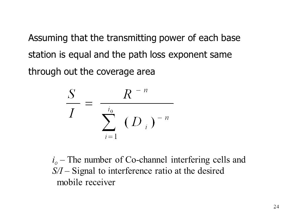 Assuming that the transmitting power of each base