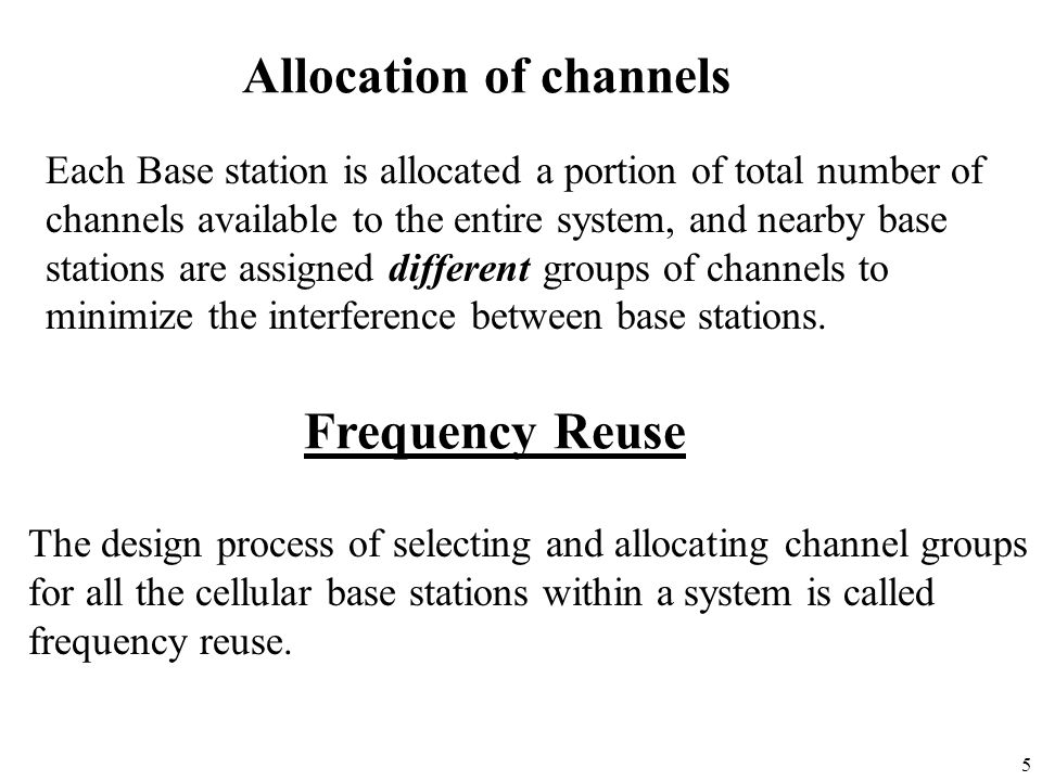 Allocation of channels