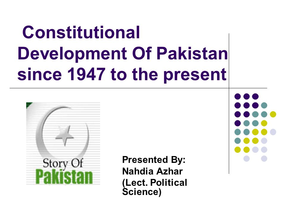 Constitutional Development Of Pakistan since 1947 to the present