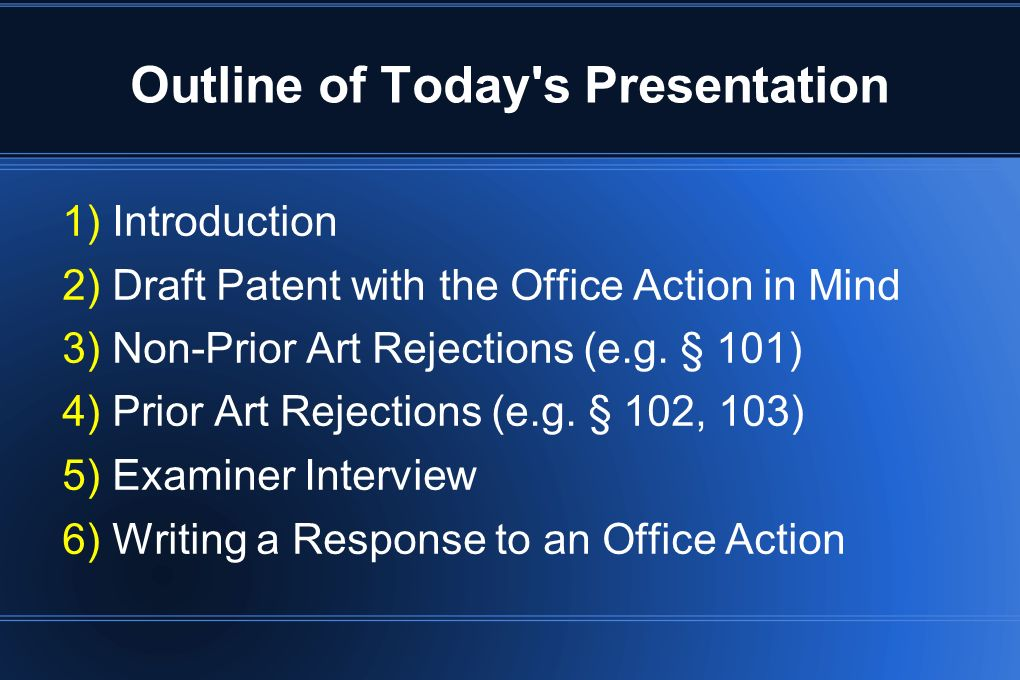 Outline of Today s Presentation