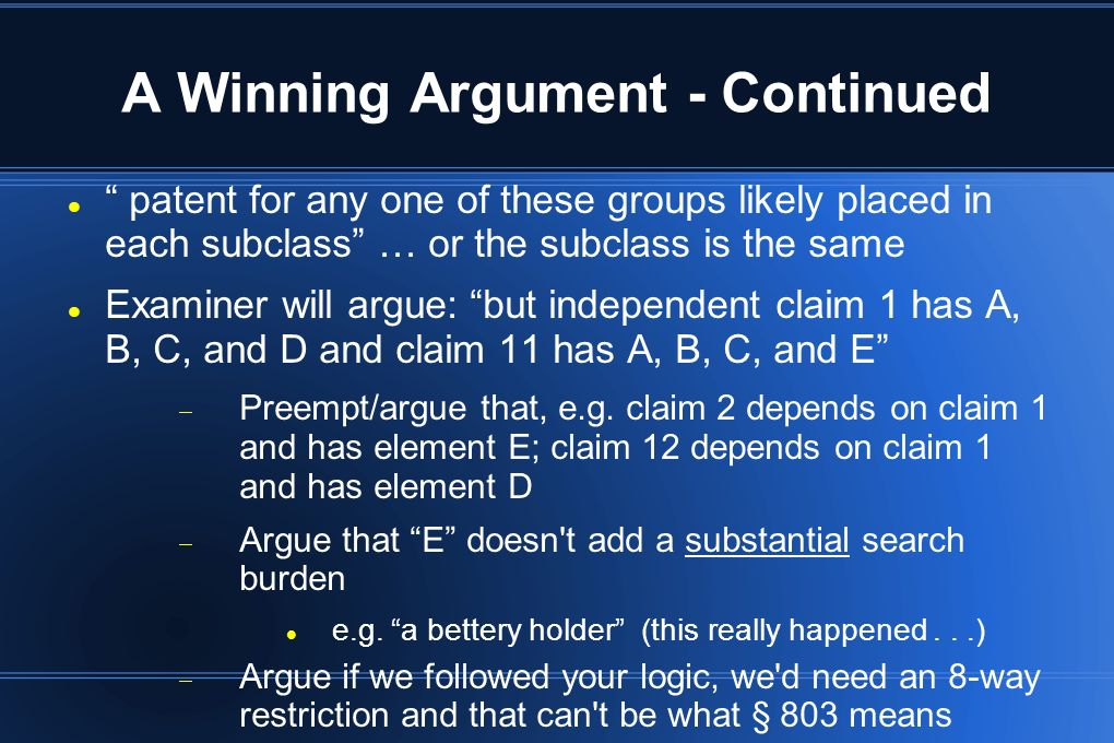 A Winning Argument - Continued