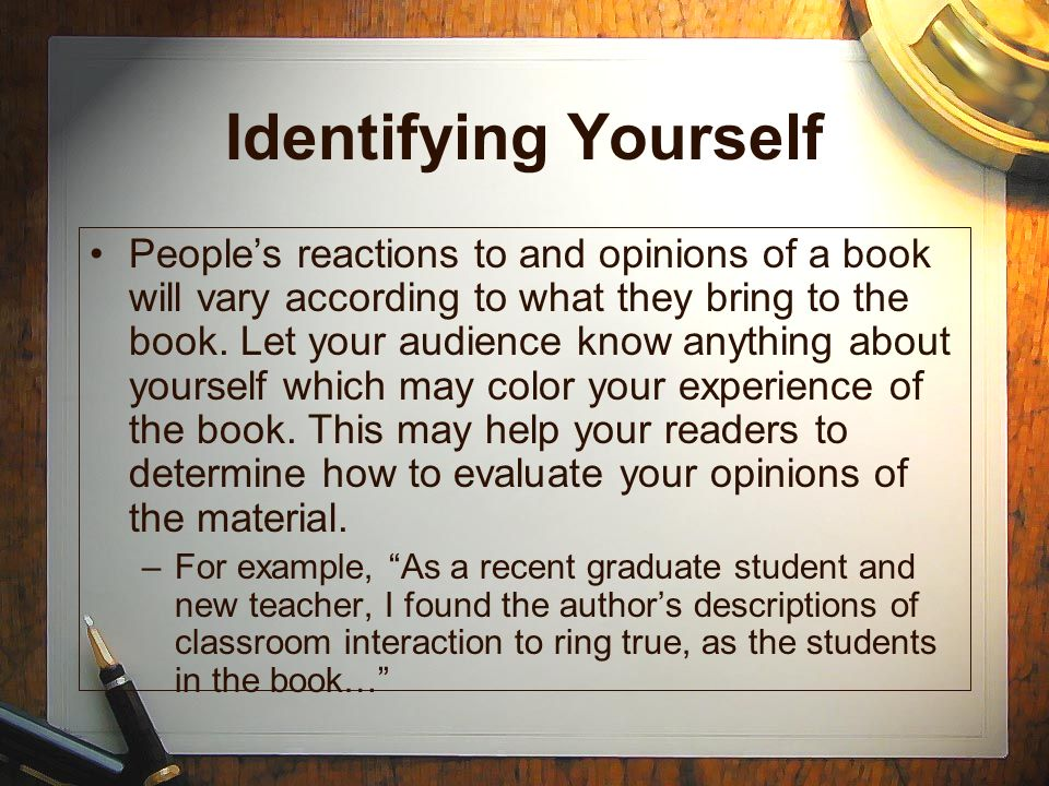 Identifying Yourself