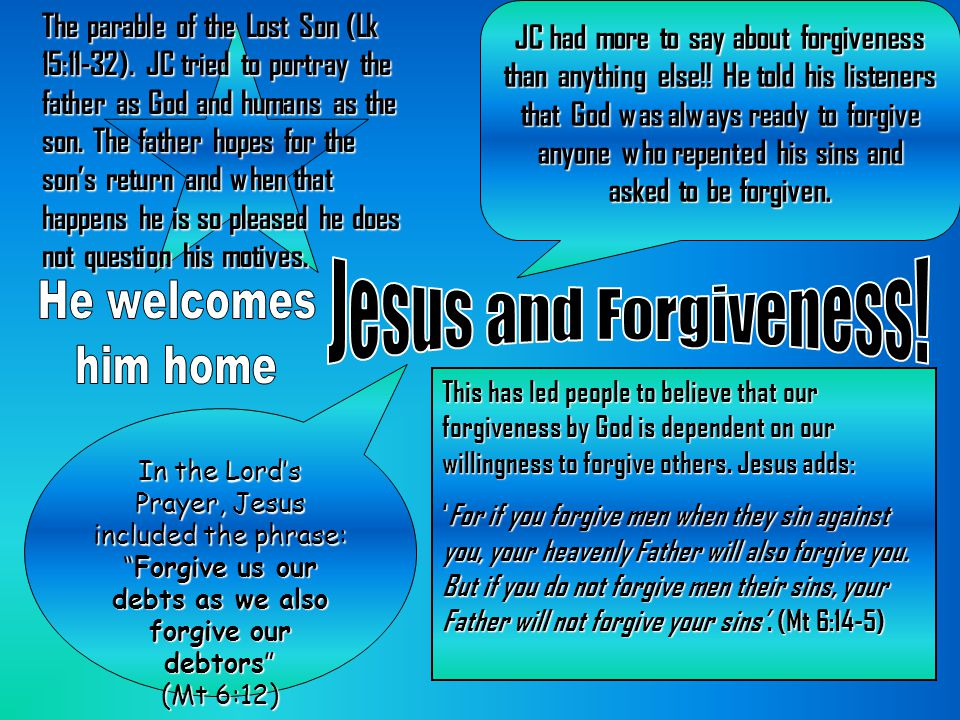 Jesus and Forgiveness! He welcomes him home