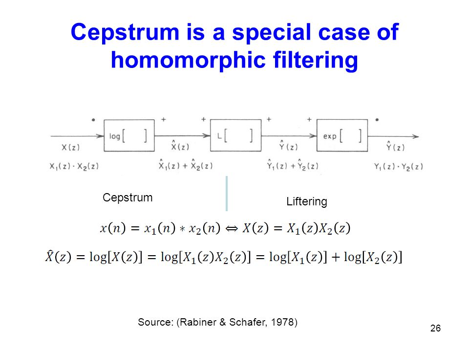 Cepstrum is a special case of homomorphic filtering