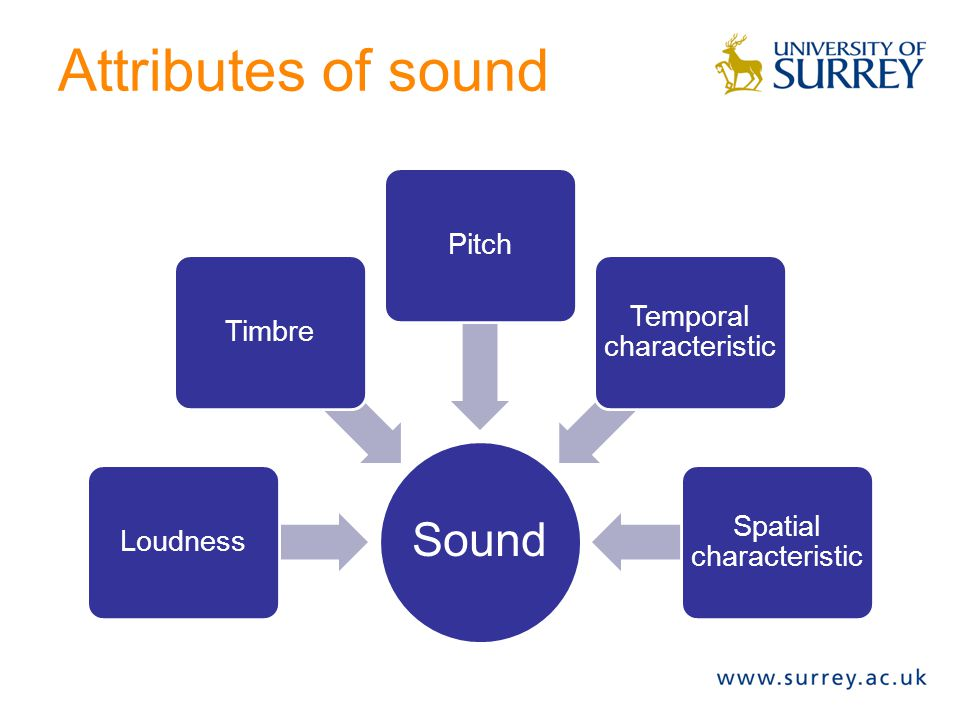 Attributes of sound Sound Pitch Temporal characteristic Timbre