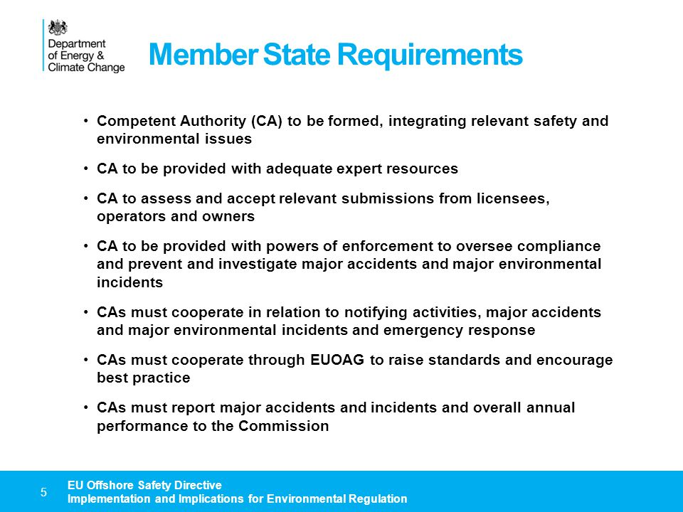 Member State Requirements