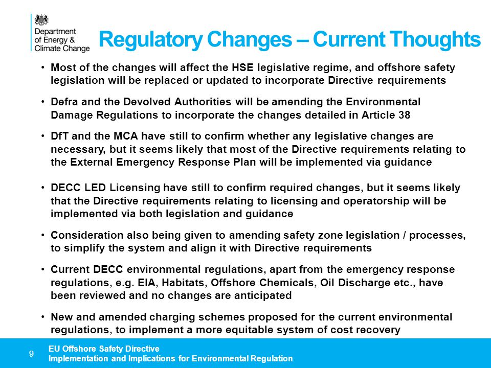 Regulatory Changes – Current Thoughts