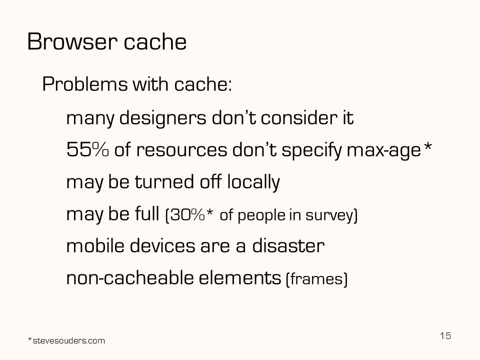Browser cache Problems with cache: many designers don't consider it