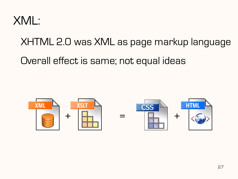 XML: XHTML 2.0 was XML as page markup language