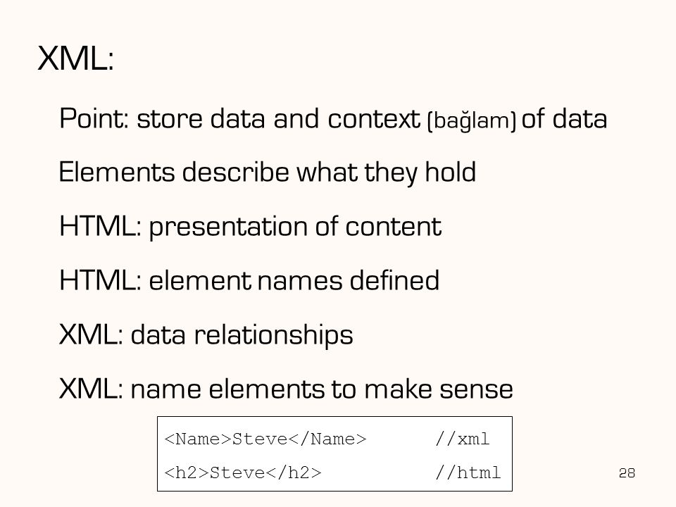 XML: Point: store data and context (baglam) of data