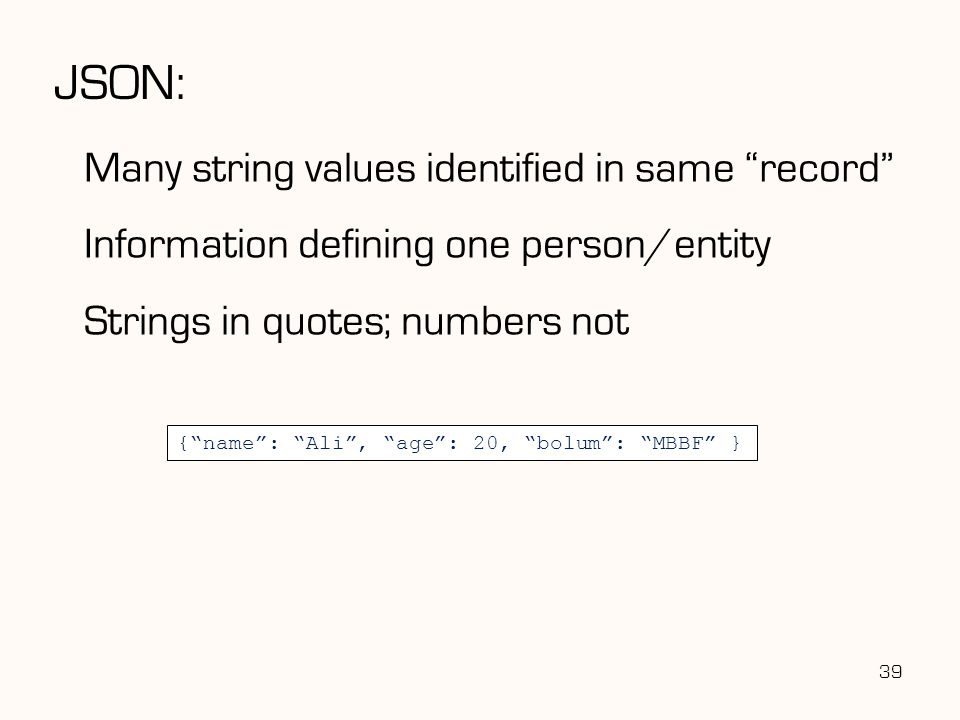 JSON: Many string values identified in same record