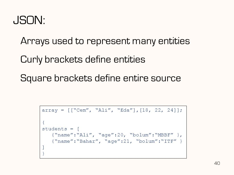 JSON: Arrays used to represent many entities