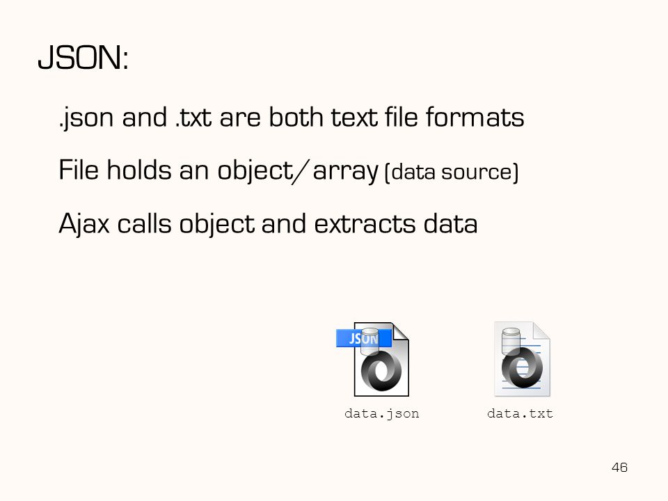 JSON: .json and .txt are both text file formats