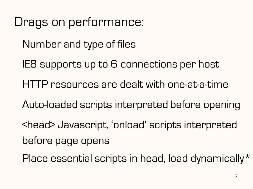 Drags on performance: Number and type of files