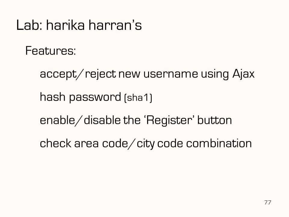 Lab: harika harran's Features: accept/reject new username using Ajax