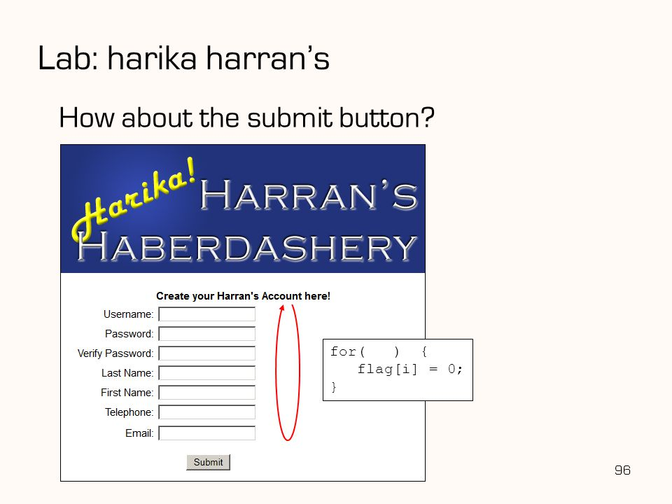Lab: harika harran's How about the submit button for( ) {