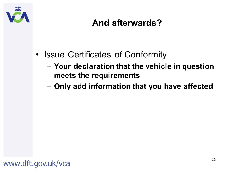Issue Certificates of Conformity