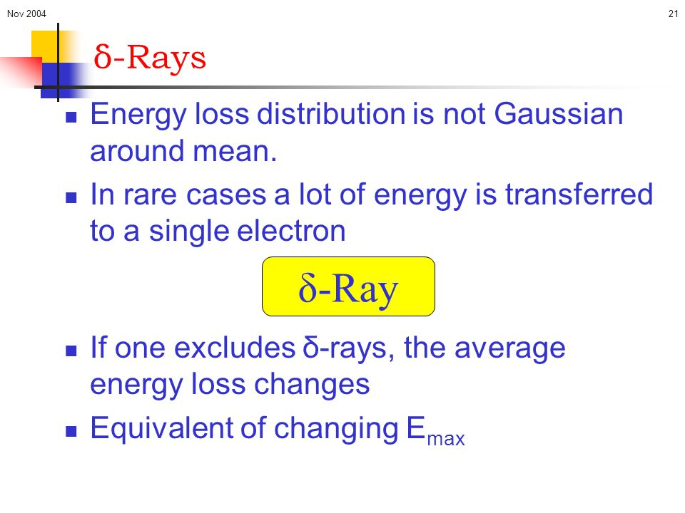 δ-Ray δ-Rays Energy loss distribution is not Gaussian around mean.