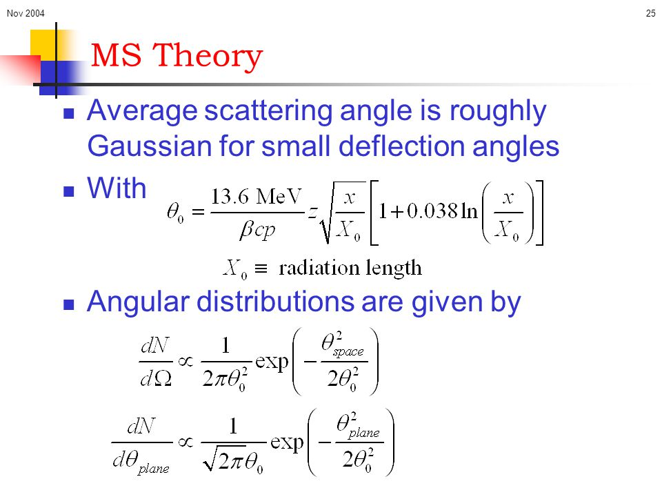Nov 2004 MS Theory. Average scattering angle is roughly Gaussian for small deflection angles. With.