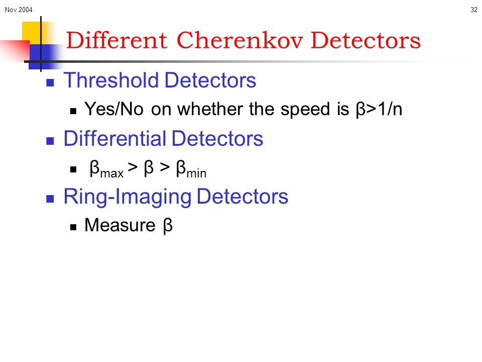 Different Cherenkov Detectors