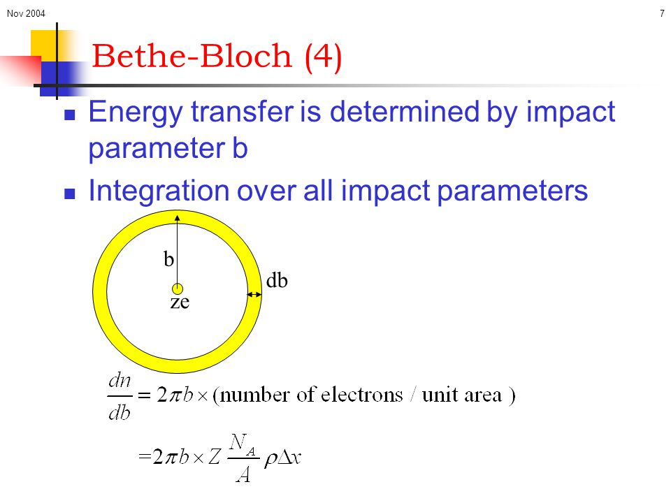 Bethe-Bloch (4) Energy transfer is determined by impact parameter b