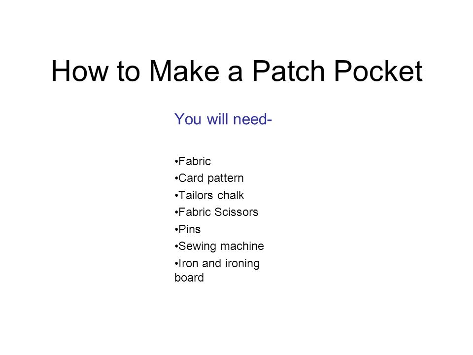 How to Make a Patch Pocket